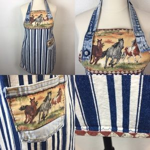 Recycled Denim and Horse Print Apron One Size Fits